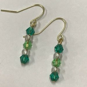 Handmade Green crystal beaded earrings